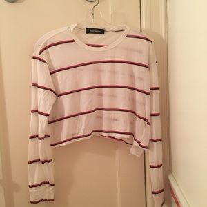 Reformation White Striped Long Sleeve Cropped Tee
